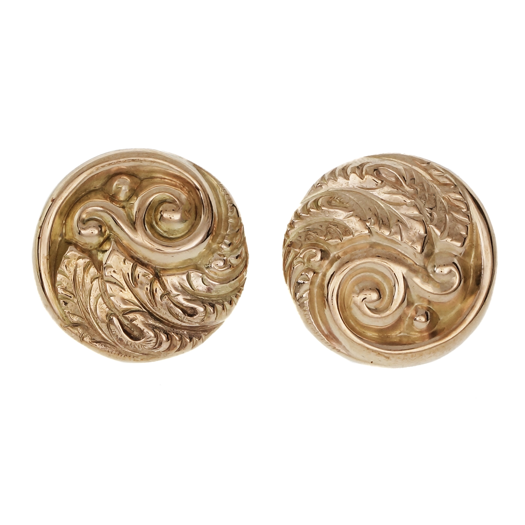 """Image of """"14K Rose Gold Art Nouveau Round Earrings"""""""
