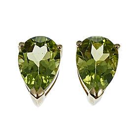 14K Yellow Gold Pear Shaped Green Peridot Earrings