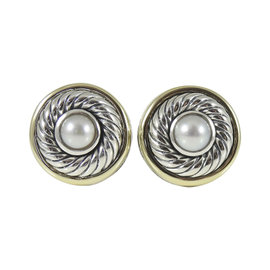 David Yurman Sterling Silver and 14K Yellow Gold Large Round Pearl Albion Earrings