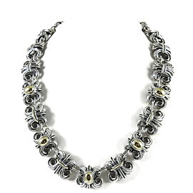 Lagos Sterling Silver and 18K Yellow Gold Dome Wheat Necklace