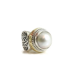 Konstantino Dare to Love Sterling Silver & 18K Yellow Gold Mabe Pearl Ring Size 7.25