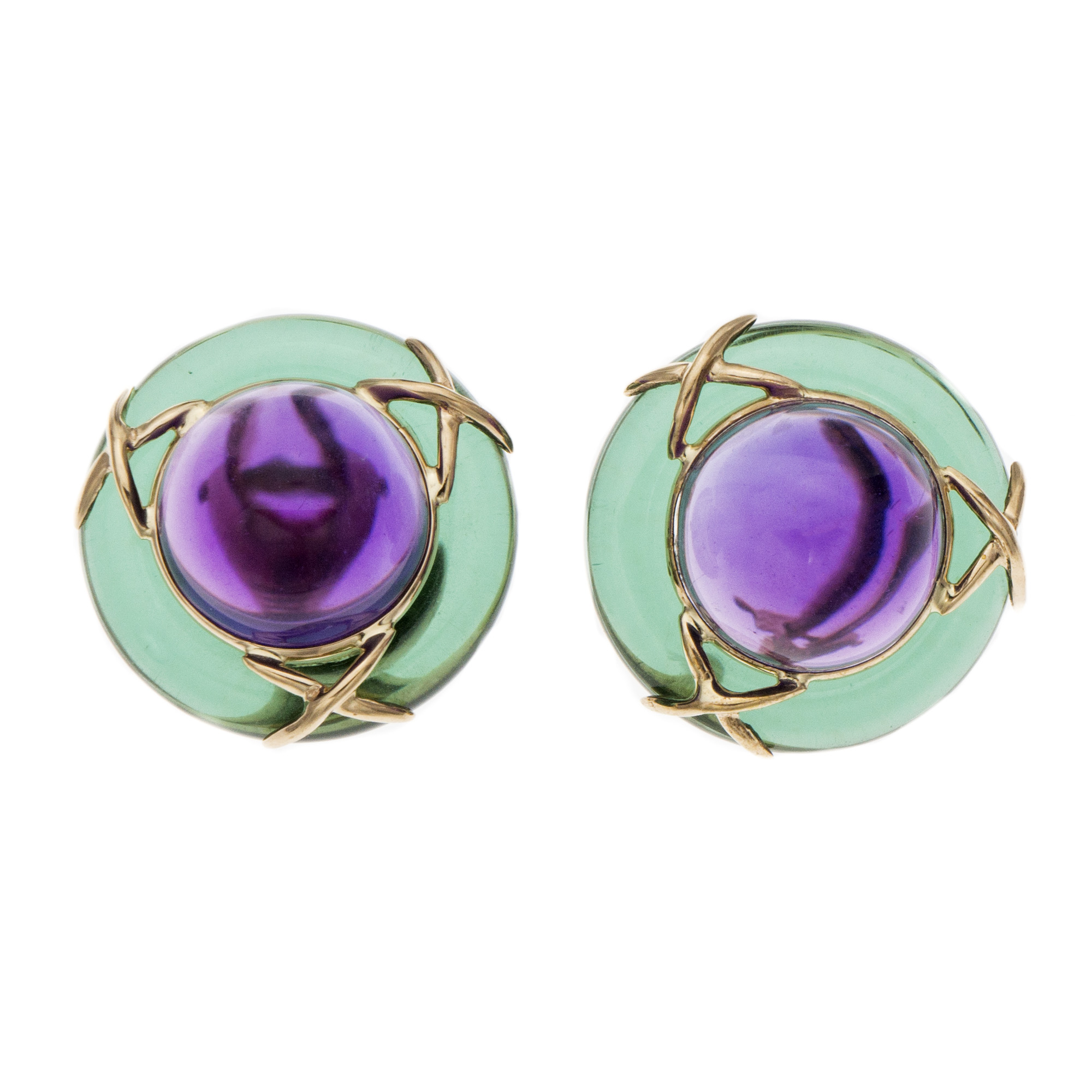 "Image of ""14K Yellow Gold Purple Green Glass Earrings"""