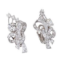Platinum Diamond Flower Earrings