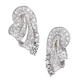 Platinum 2.50ct. Diamond Swirl Earrings