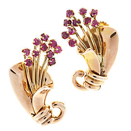 14K Pink Gold with 1.00ct Red Ruby Flower Pierced Post Earrings