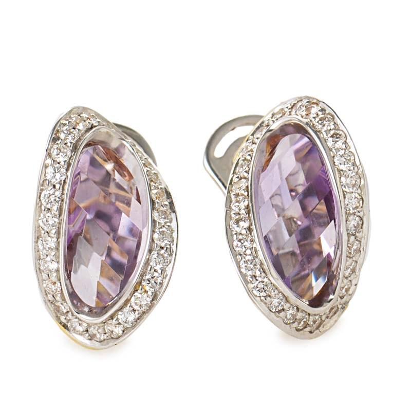 "Image of ""Superoro 18K White & Yellow Gold Diamond & Amethyst Earrings"""