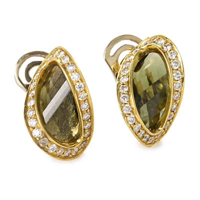"Image of ""Superoro 18K Yellow Gold Diamond & Moldavite Earring"""