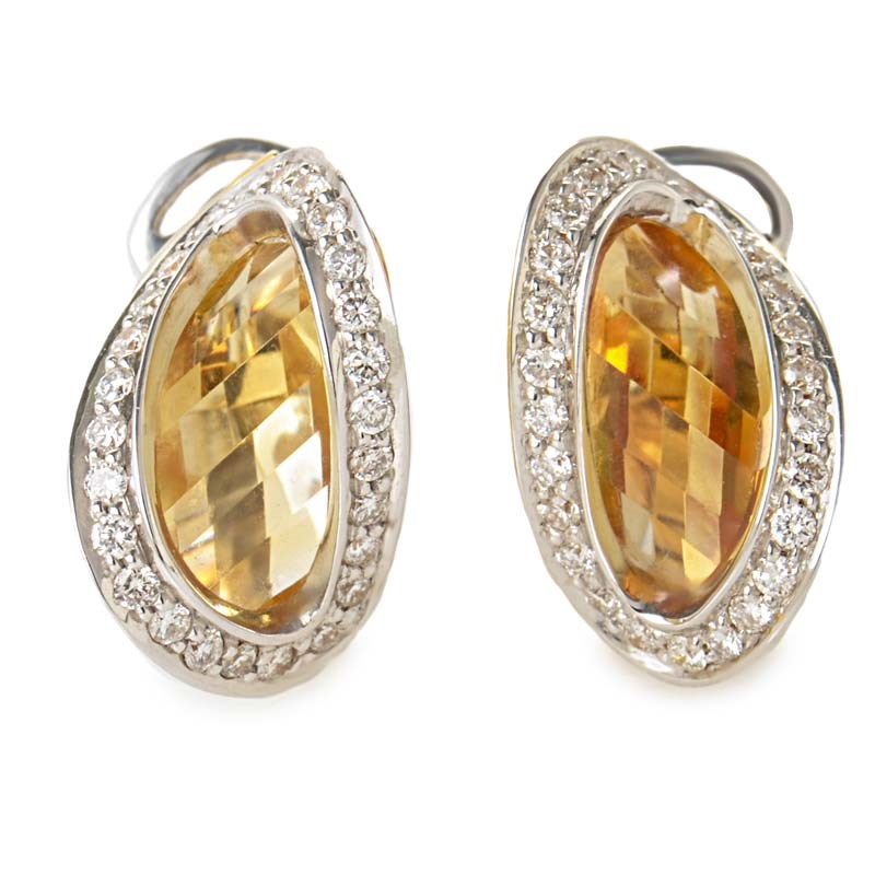 "Image of ""Superoro 18K White & Yellow Gold Diamond & Citrine Earrings"""