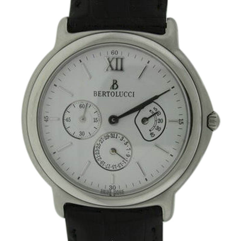 "Image of ""Bertolucci 708.41.3026 Stainless Steel & Leather 36mm Watch"""