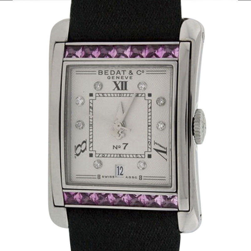 """Image of """"Bedat & Co. Stainless Steel With Pink Sapphires and Diamonds Womens"""""""