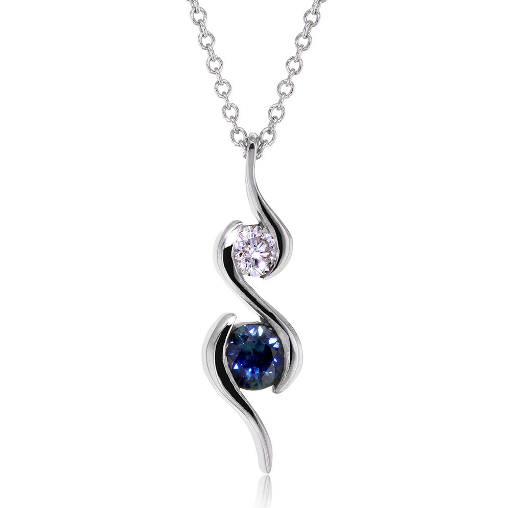"Image of ""14K White Gold with Sapphire and 0.1ct Diamond Ripple Pendant Necklace"""