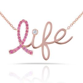14K Rose Gold Pink Sapphire & 0.02ct Diamond Necklace