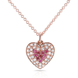 14K Rose Gold Pink Sapphire & 0.2ct Diamond Heart Necklace