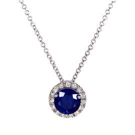 14K White Gold Blue Sapphire and 0.1ct Diamond Necklace