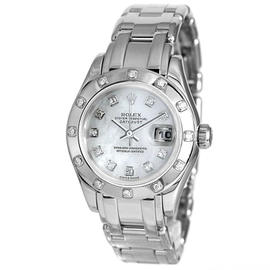 Rolex Datejust 18K White Gold Mother Of Pearl Diamond Dial and Bezel 29mm Watch