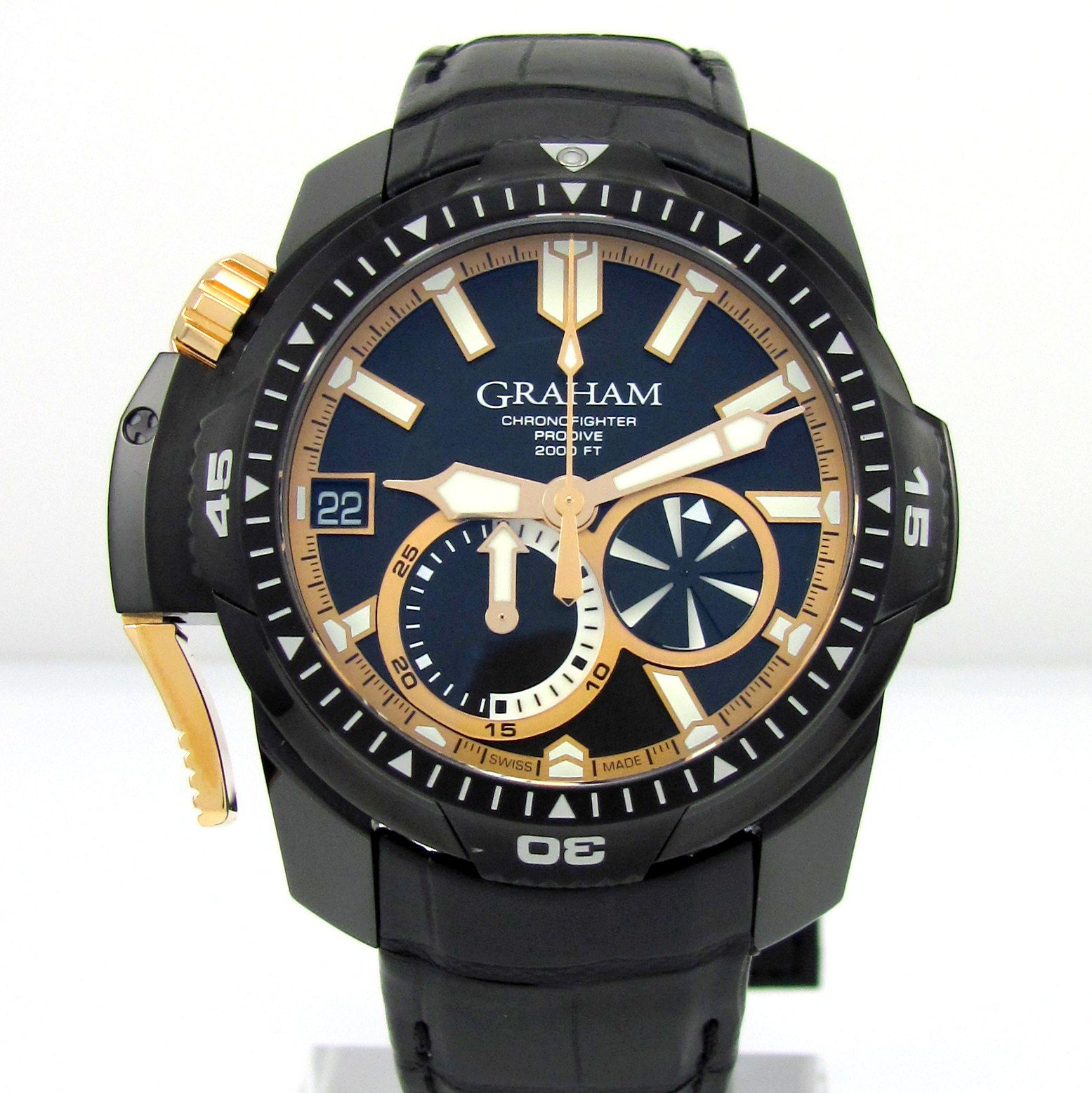 "Image of ""Graham Chronofighter Prodive Gr2Fgdc 01 DLC Stainless Steel 45mm Mens"""
