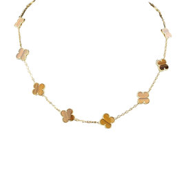 Van Cleef & Arpels 18K Yellow Gold and Tigers Eye Alhambra 20 Motif Necklace
