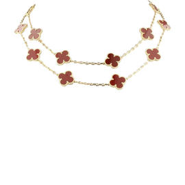 Van Cleef & Arpels 18K Yellow Gold and Carnelian Alhambra 20 Motif Necklace