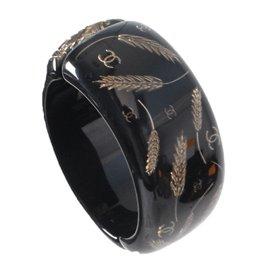 Chanel Black & Gold Wheat Resin Cuff Bracelet