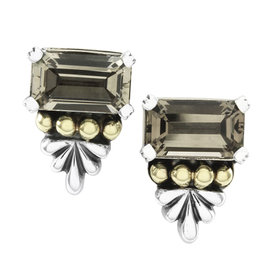 Lagos Caviar Sterling Silver and 18K Yellow Gold 7.24 Ct Smoky Topaz Earrings