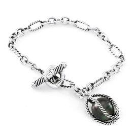 David Yurman Sterling Silver Bijoux Tahitian Pearl Toggle Bracelet