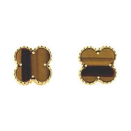 Van Cleef & Arpels 18K Yellow Gold Alhambra Tiger Eye Stud Earrings