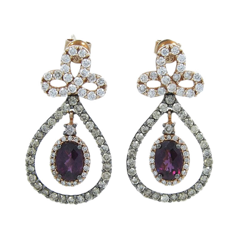 "Image of ""Levian 14K Rose Gold Rhodalite Garnet Diamond Dangle Earrings"""