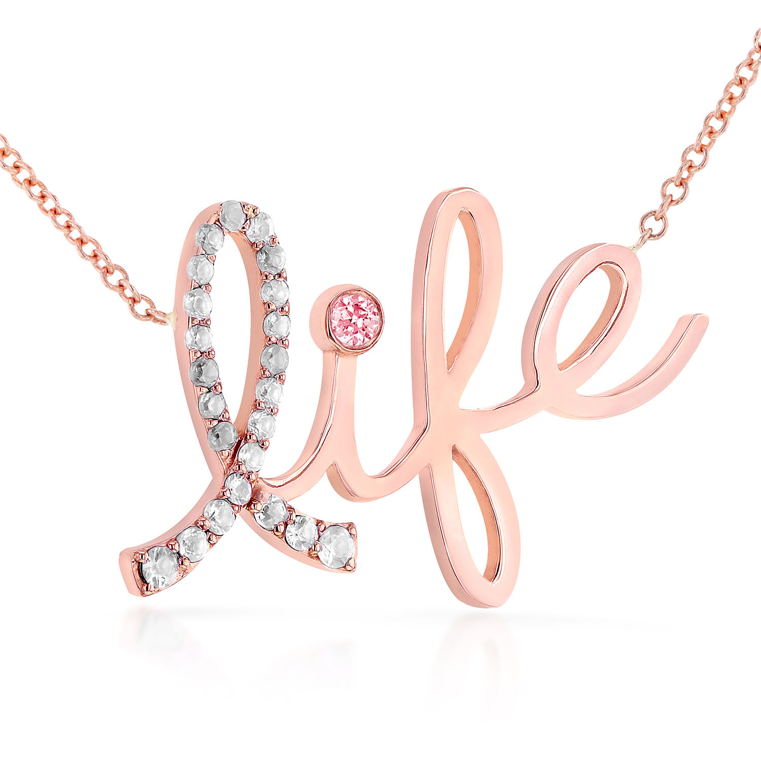 """Image of """"14K Rose Gold 0.12ct. Diamond & 0.03ct. Pink Sapphire Life Necklace"""""""