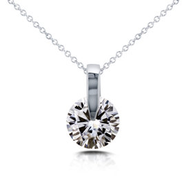 14K White Gold Floating Round 1ct. Diamond Solitaire Necklace