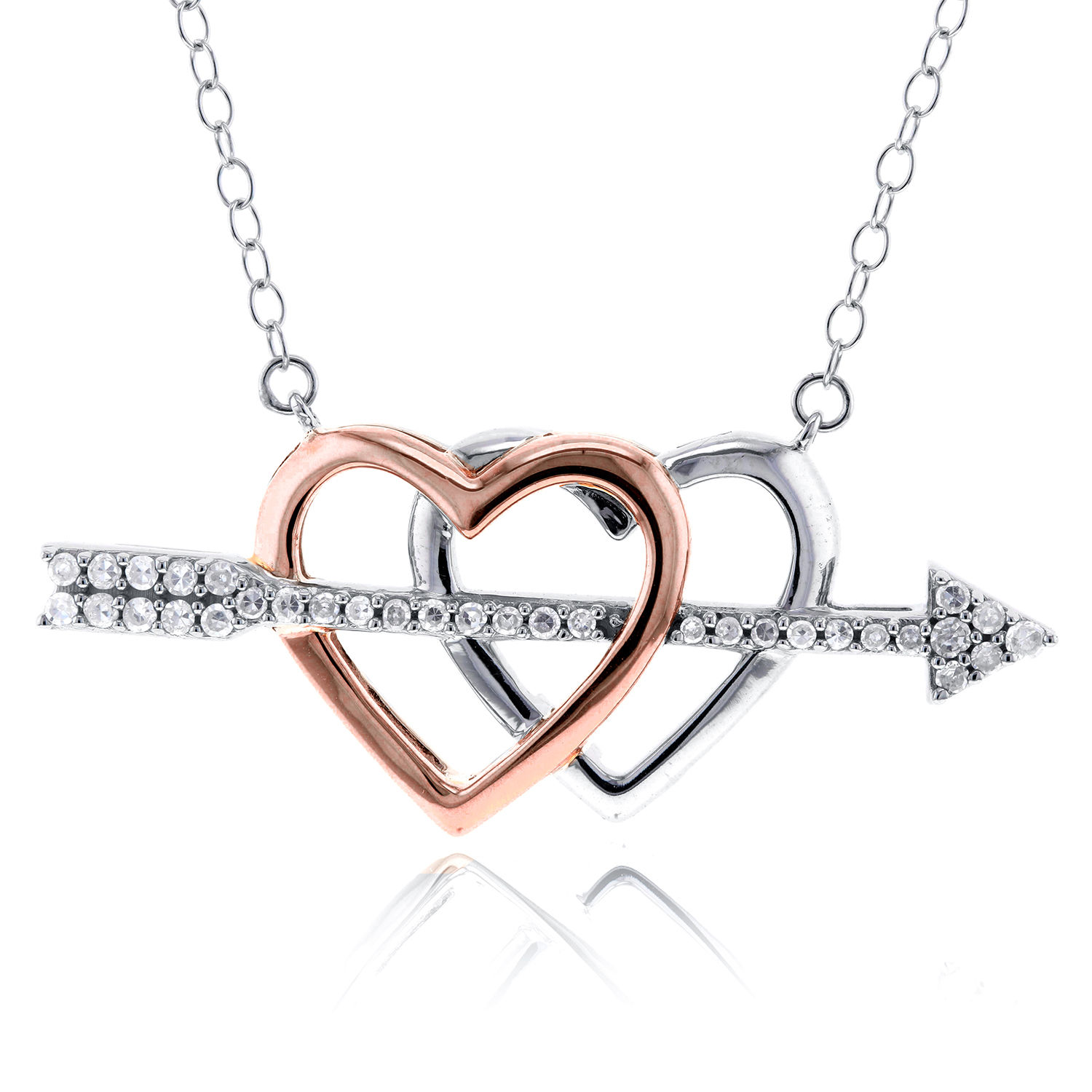 "Image of ""10K White and Rose Gold with 0.21ct Diamond Cupids Arrow Double Hearts"""