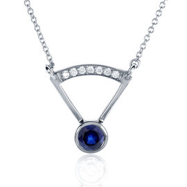 14K White Gold 0.05ct. Blue Sapphire 0.05ct. Diamond Accented Bezel Necklace