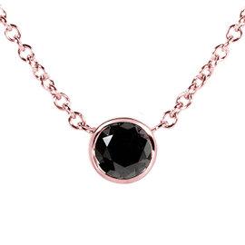 14K Rose Gold 0.25ct. Black Diamond Solitaire Round Bezel Necklace