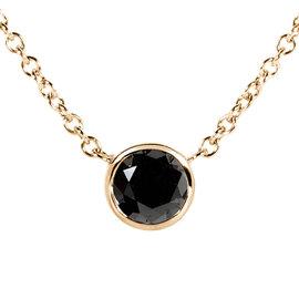 14K Yellow Gold 0.5ct. Black Diamond Solitaire Round Bezel Necklace