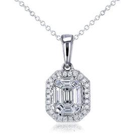 14K White Gold Art Deco 0.5ct. Emerald Cut Diamond Necklace