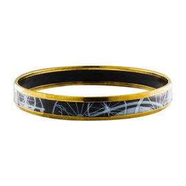 Hermes Black Enamel Blue Gold Plate Wheel Design Bangle