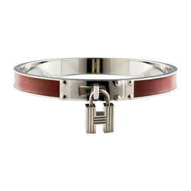 Hermes Red Leather Cadena Black With Lock Silver Plate Bangle Bracelet