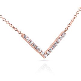 14K Rose Gold 0.1ct Diamond Chevron V Necklace
