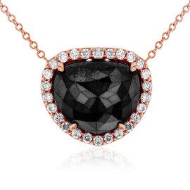 14K Rose Gold 4 4/5ct Black Diamond Halo Necklace