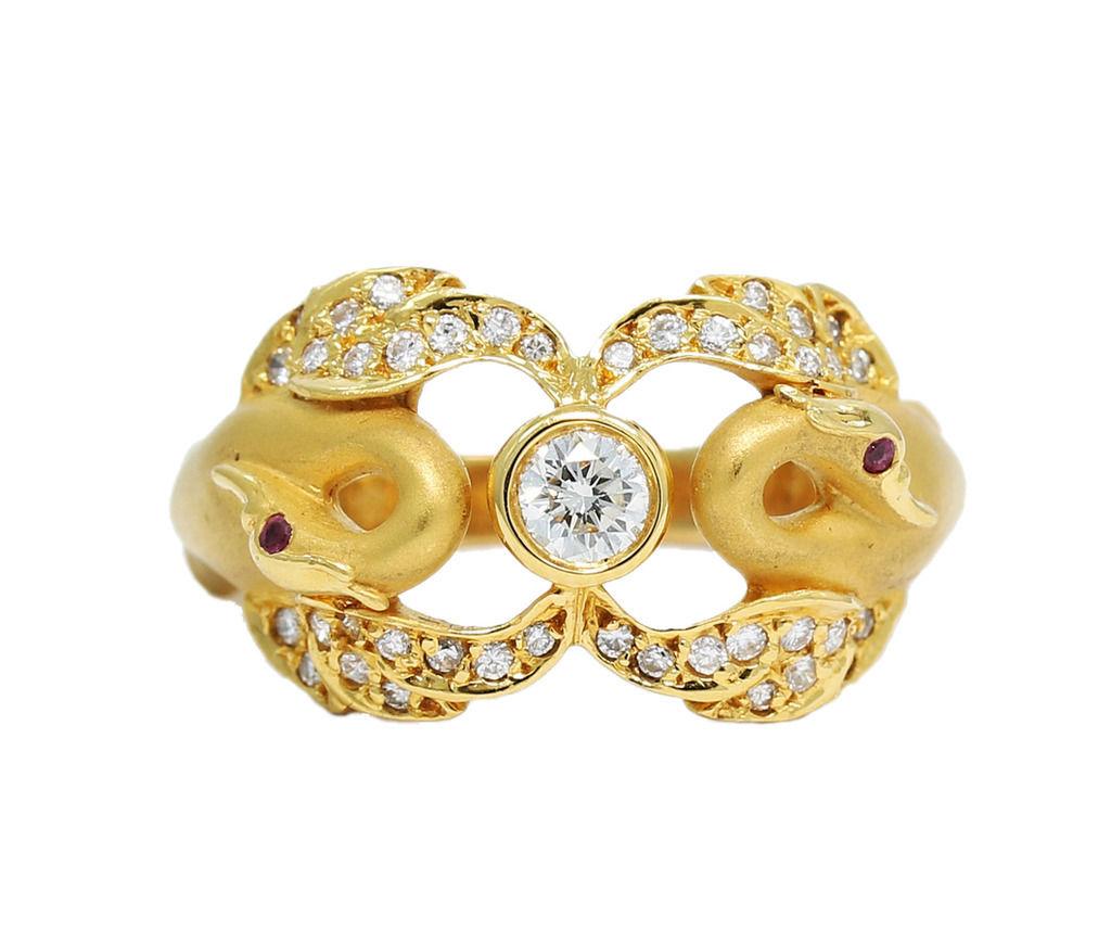 "Image of ""Carrera Y Carrera 18K Yellow Gold 0.21ct. Diamonds and Rubies Ring"""