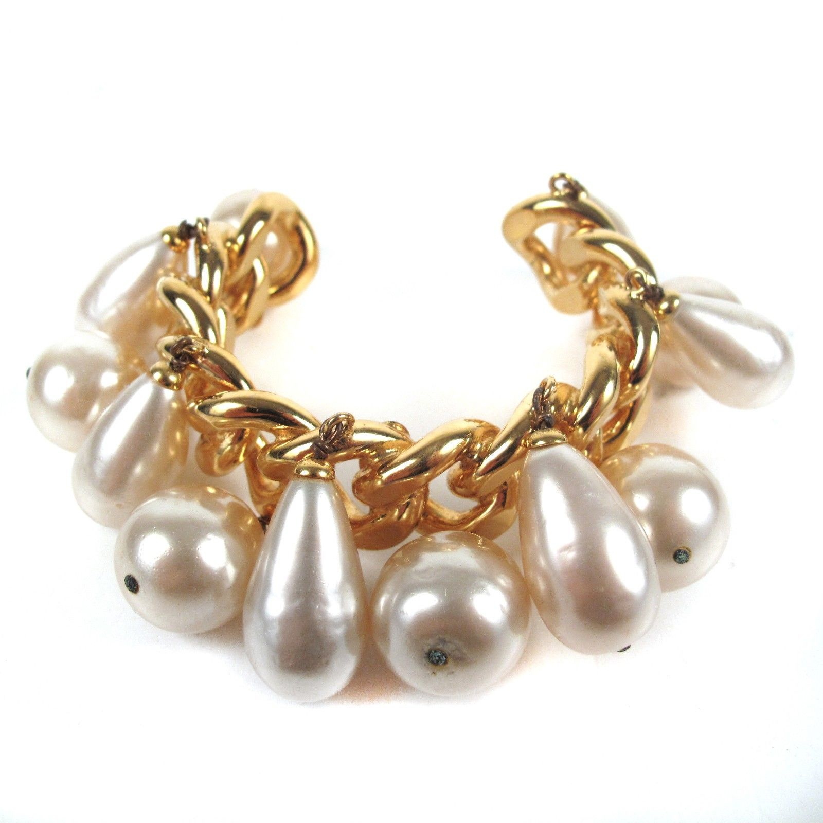 """Image of """"Chanel Gold Tone Faux Pearl Chain Cuff Charm Vintage Bracelet"""""""