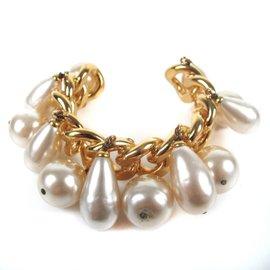 Chanel Gold Tone Faux Pearl Chain Cuff Charm Vintage Bracelet