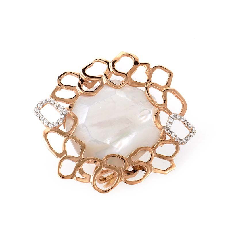 "Image of ""LeaderLine 18K Rose Gold Mother of Pearl & Diamond Ring Size 7.75"""
