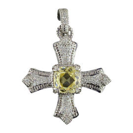 Judith Ripka 18K White Gold 2.00 Ct Yellow Rock Crystal & 0.50 Ct Diamond Cross Pendant
