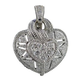 Judith Ripka 18K White Gold Diamond Heart Puff Pendant