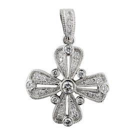 Judith Ripka 18K White Gold Diamond Bezel Cross Pendant