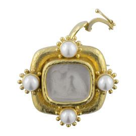Elizabeth Locke 19K Yellow Gold Glass Pearl Pendant Brooch