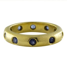 Judith Ripka Etoille 18K Yellow Gold 1.00 Ct Blue Sapphire Eternity Band Ring Size 5.75