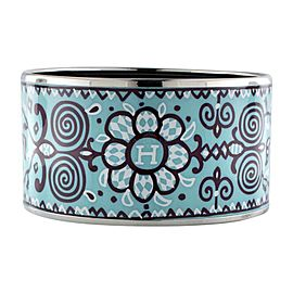 Hermes Silver Plate Turquoise Enamel Extra Wide Aztec Bangle / Bracelet