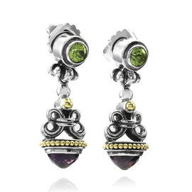 Lagos Caviar Sterling Silver and 18K Yellow Gold Amethyst and Peridot Earrings