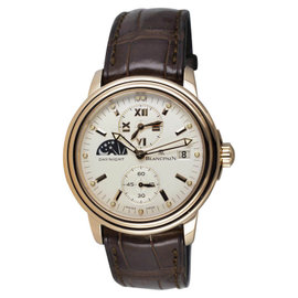 Blancpain Leman Dual Time 2160-3642-53 18K Rose Gold Automatic 38mm Mens Watch